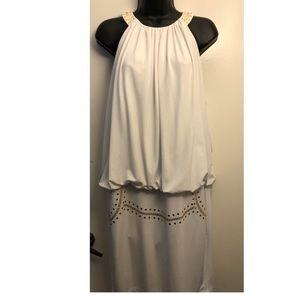 White, Gold Embellished, Halter Top Dress